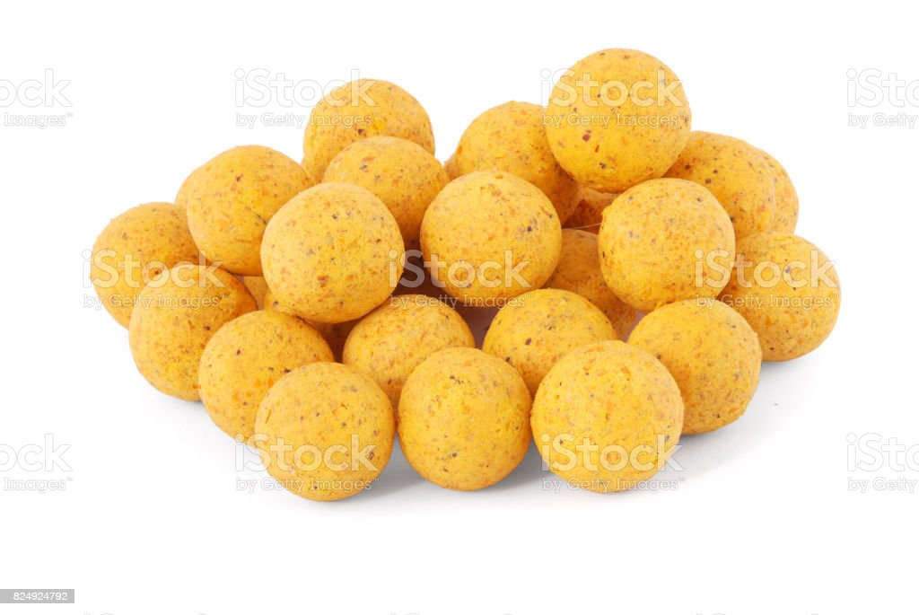 Yellow boilies isoleted stock photo