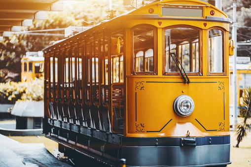 Yellow bonde tram for tourists in Rio