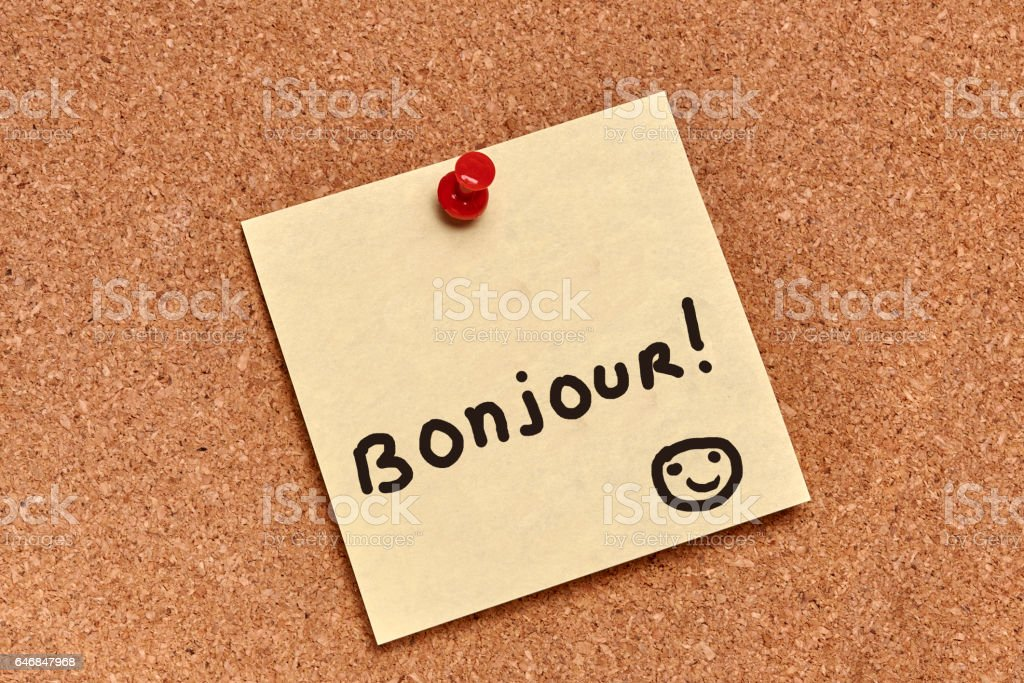 Yellow Bonjour Post it note-Stock image stock photo