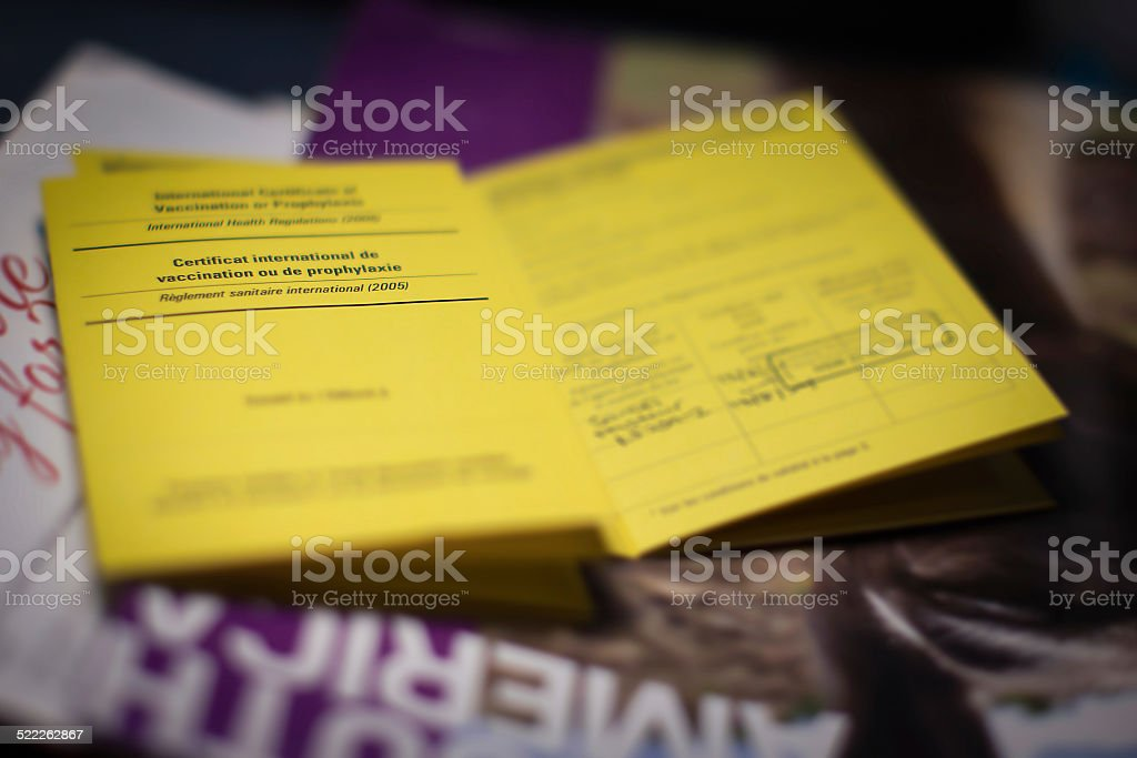 Yellow book International Certificate of Vaccination or Prophyla stock photo