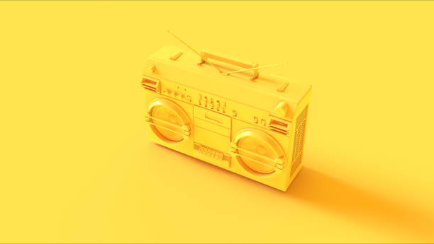 yellow boombox - isolated colour stock photos and pictures
