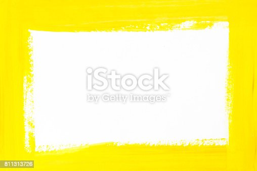 istock yellow border painted on white paper 811313726