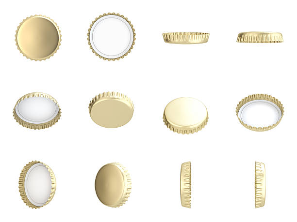 Yellow Bottle Caps Yellow Bottle Caps , Different angles , Isolated on white , 3d render bottle cap stock pictures, royalty-free photos & images