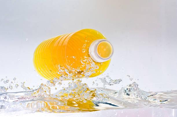 Yellow Bottled Drink stock photo