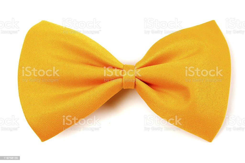 Yellow bow tie on a white background stock photo