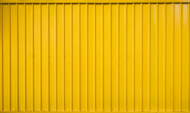Yellow box container striped line textured stock photo