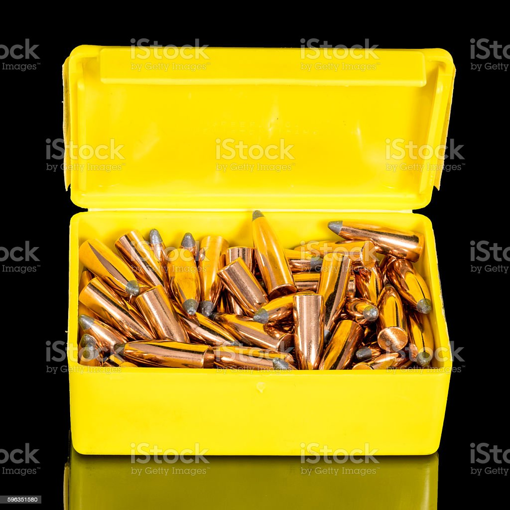 Yellow box of copper bullets ready for loading royalty-free stock photo