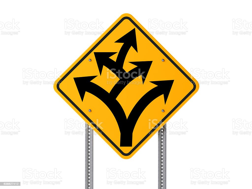 Yellow Branching Off or Division Ahead Traffic Sign on White stock photo