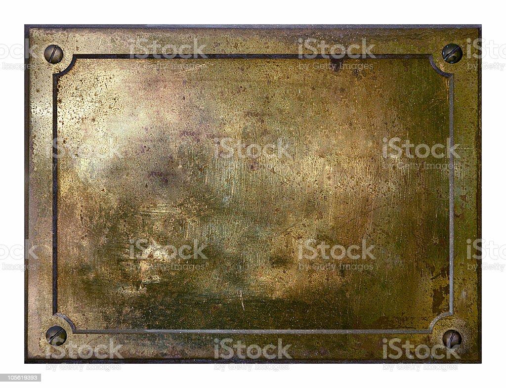 Yellow brass metal plate border royalty-free stock photo