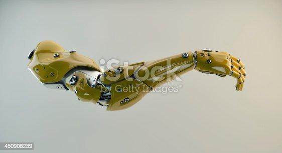 istock Yellow brawny cyber arm 450908239