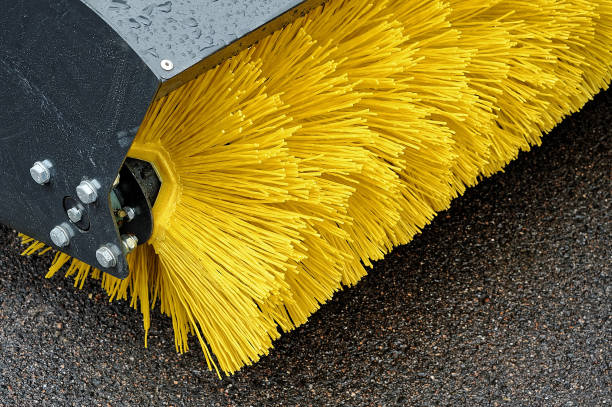 Yellow Brush of the Road Cleaner. Yellow Brush of the Road Cleaner. bristle animal part stock pictures, royalty-free photos & images