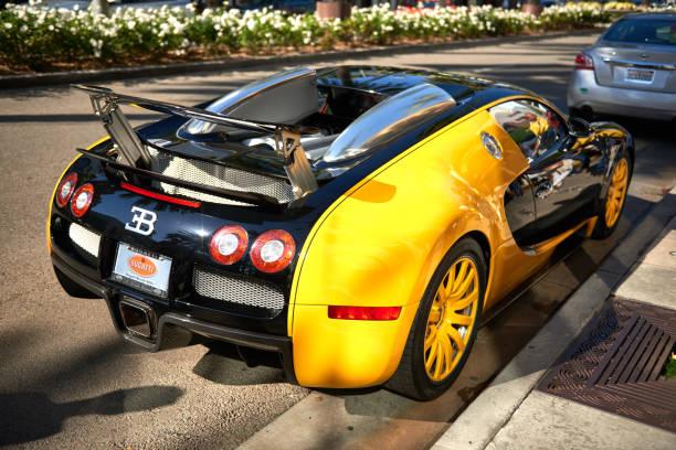 Yellow Bugatti Veyron on Rodeo Drive of Beverly Hills. stock photo