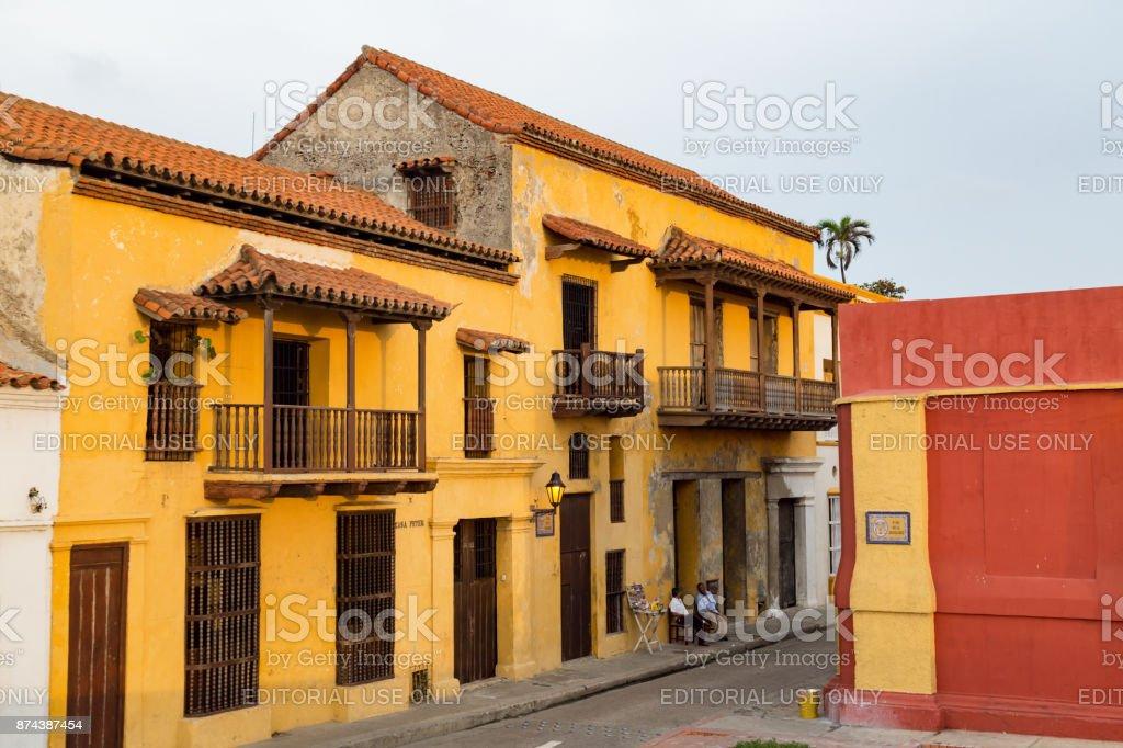 yellow building in Cartagena stock photo