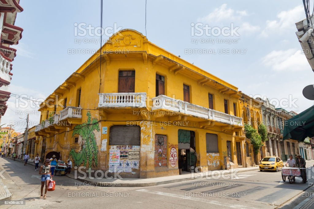 Yellow building in Getsemani stock photo