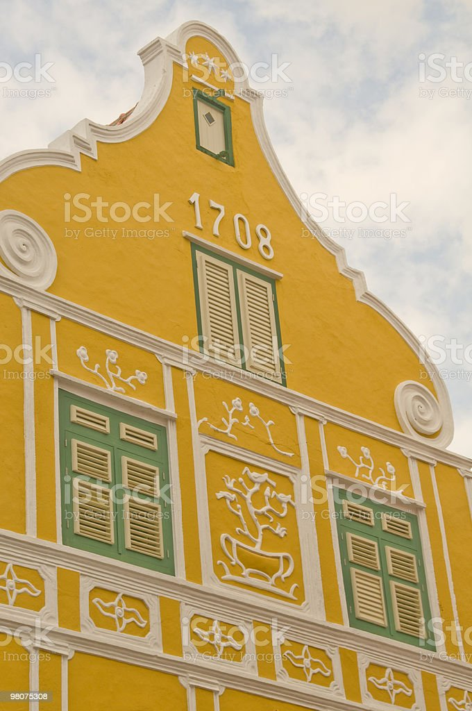 Yellow building, Willemstad, Curacao royalty-free stock photo