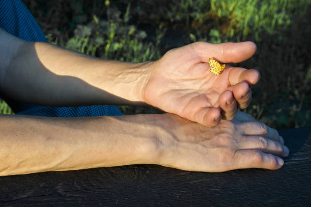 Yellow butterfly on woman's hand stock photo