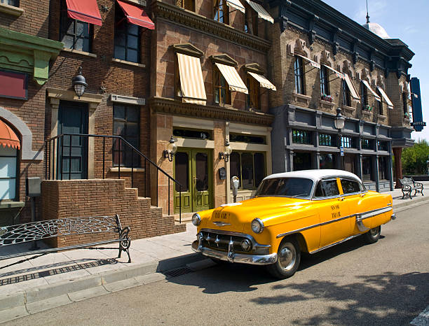 Yellow cab in and old american town