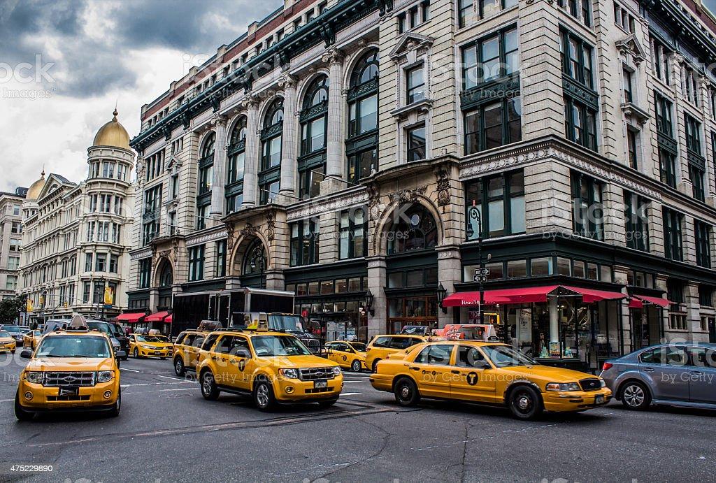 Yellow cab in newyork stock photo