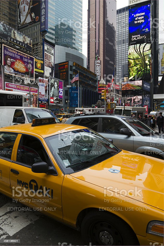 yellow cab in Times Square royalty-free stock photo