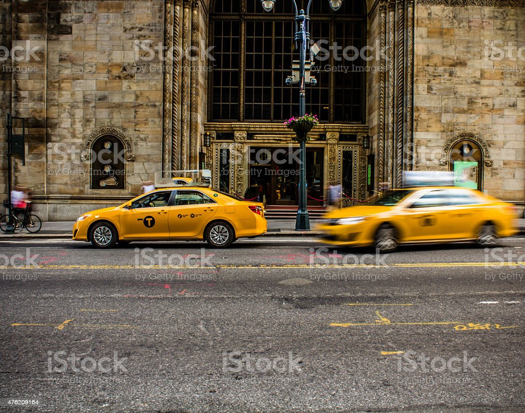 Yellow cab stock photo