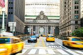 Yellow cab traffic in New York, USA.