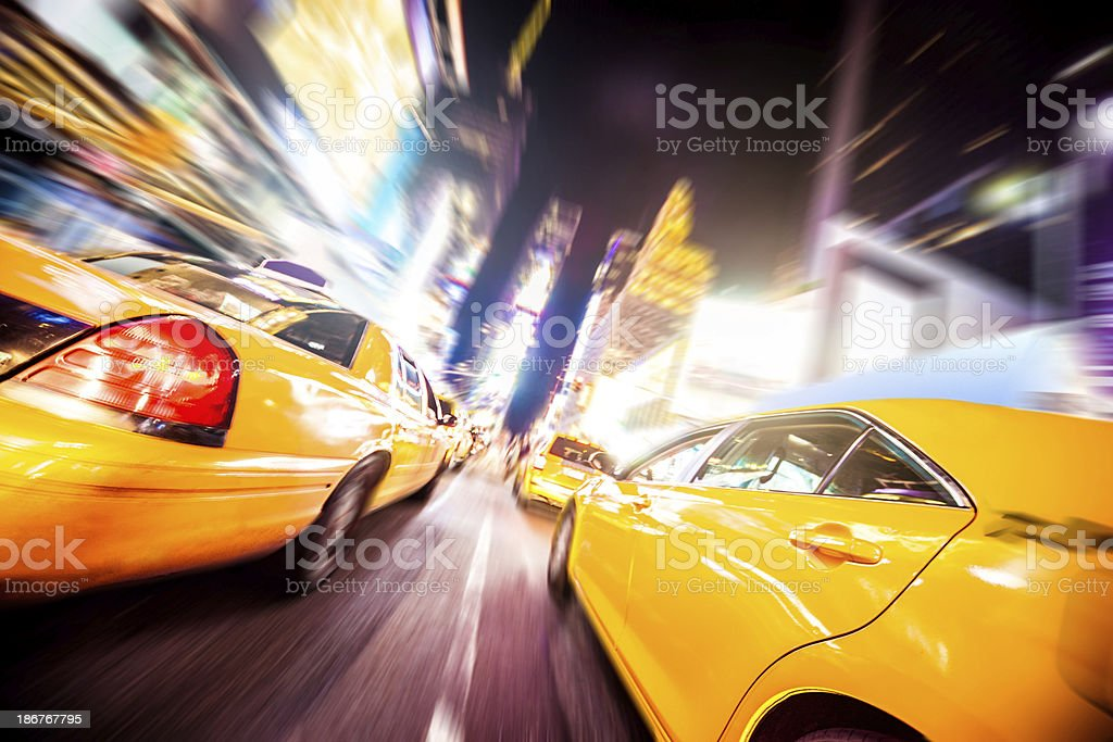 Yellow cab traffic in Times Square royalty-free stock photo