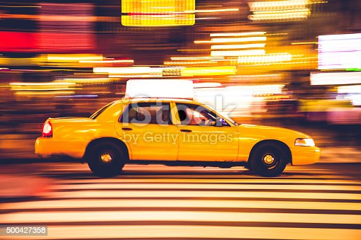istock Yellow cab traffic in Times Square 500427358