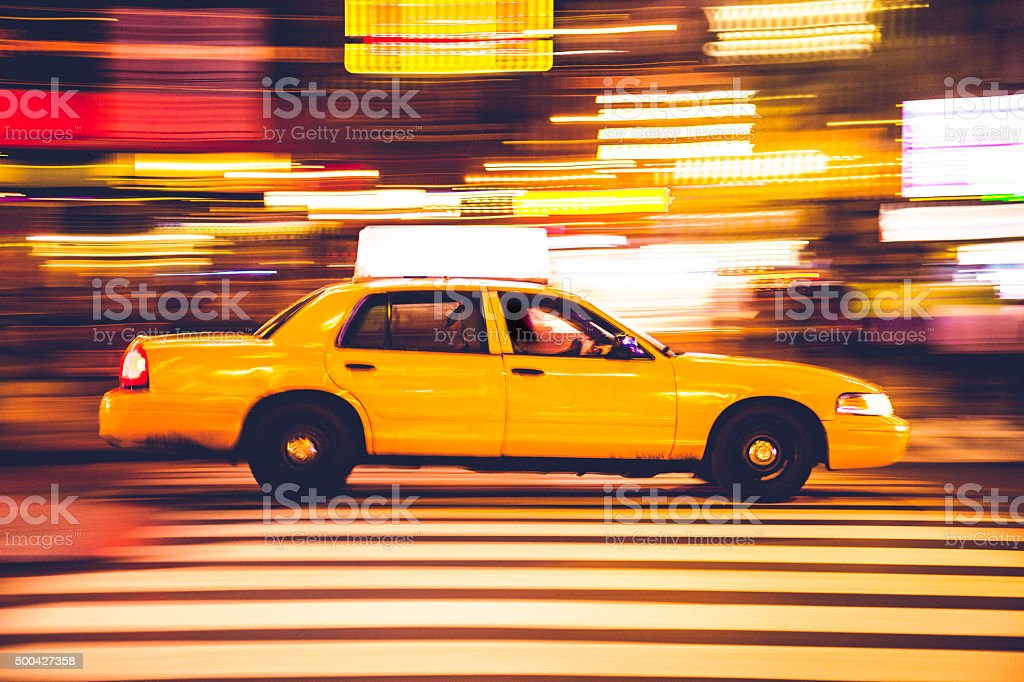 Yellow cab traffic in Times Square stock photo