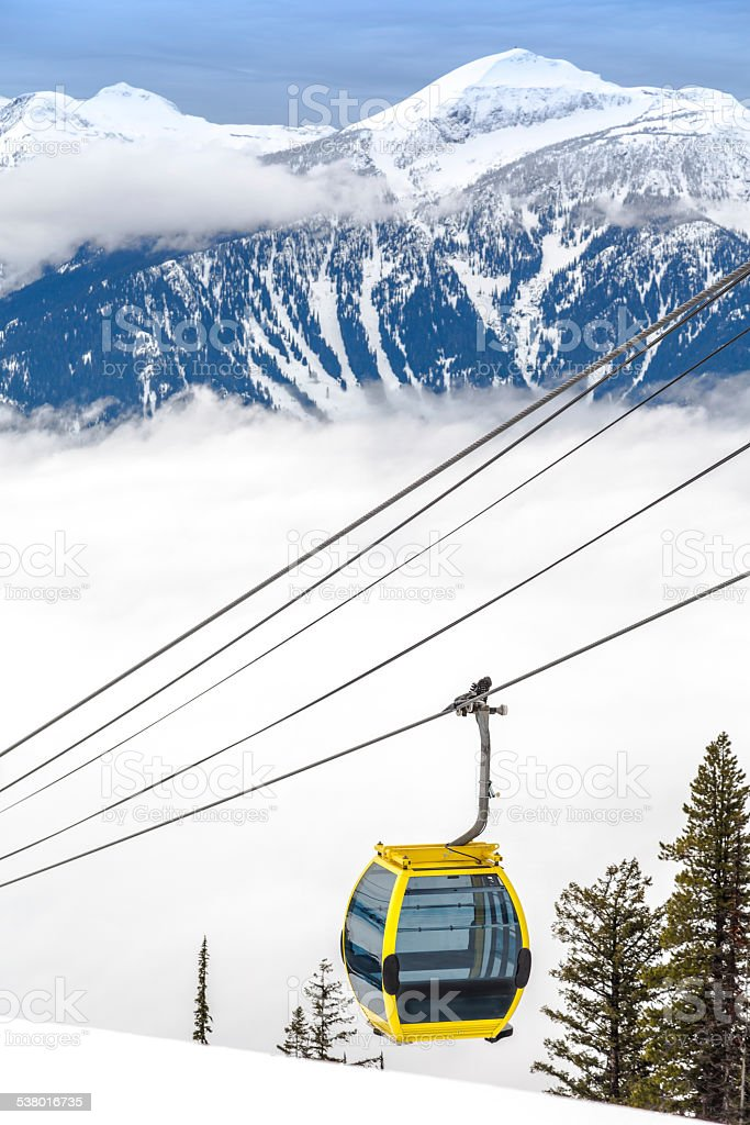 Yellow Cable Cars and Mountains at Ski Resort stock photo