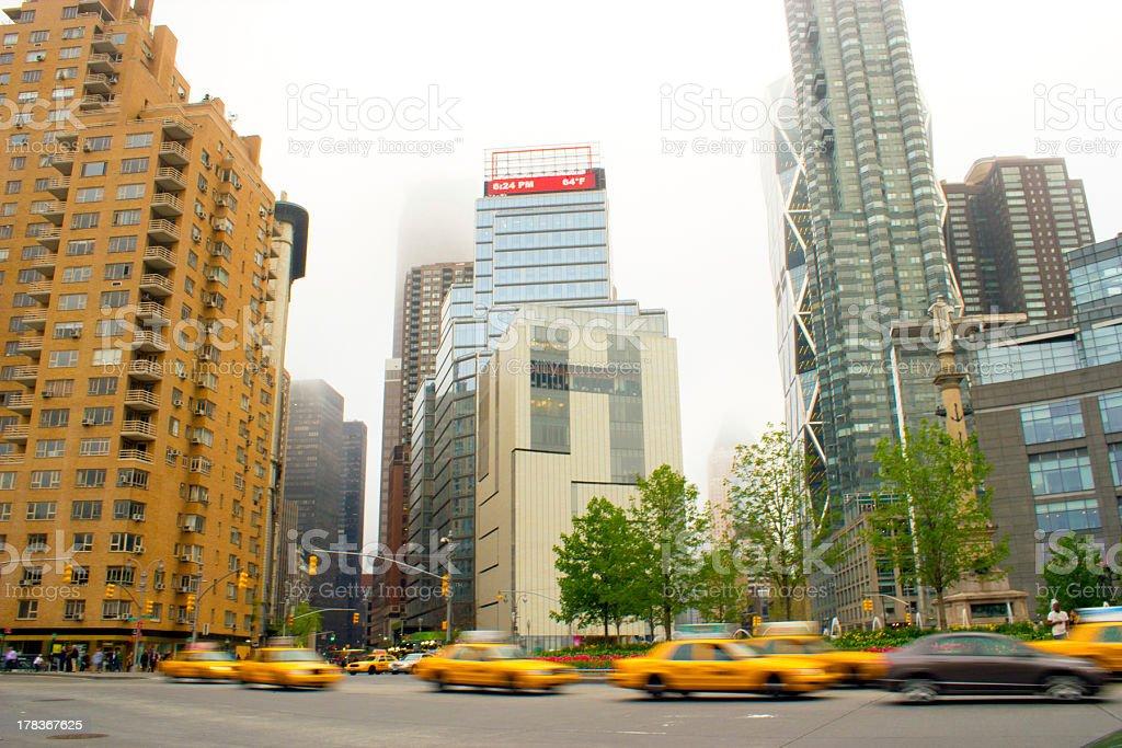 Yellow cabs in Columbus Circle, NY stock photo
