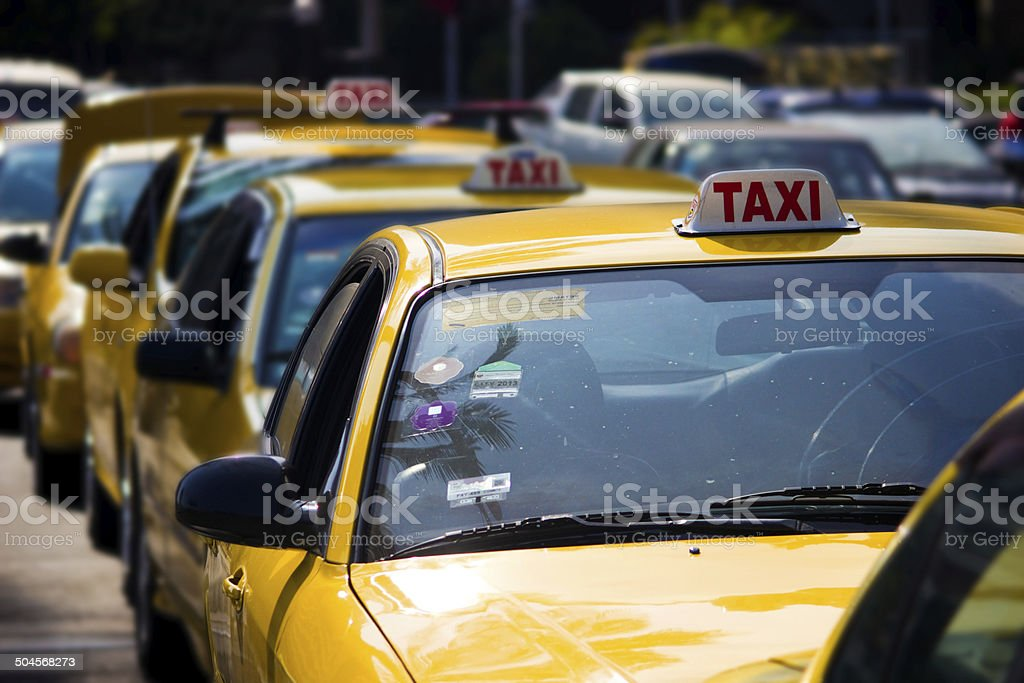 Yellow Cabs in Lima, Peru stock photo