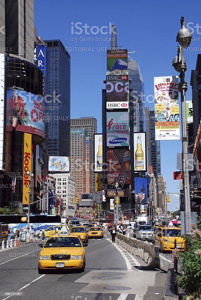 Yellow cabs in Times Square stock photo
