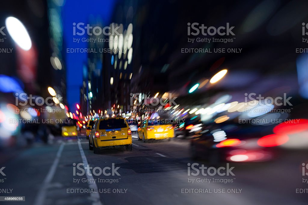 Yellow cabs on the Fifth avenue, Manhattan stock photo
