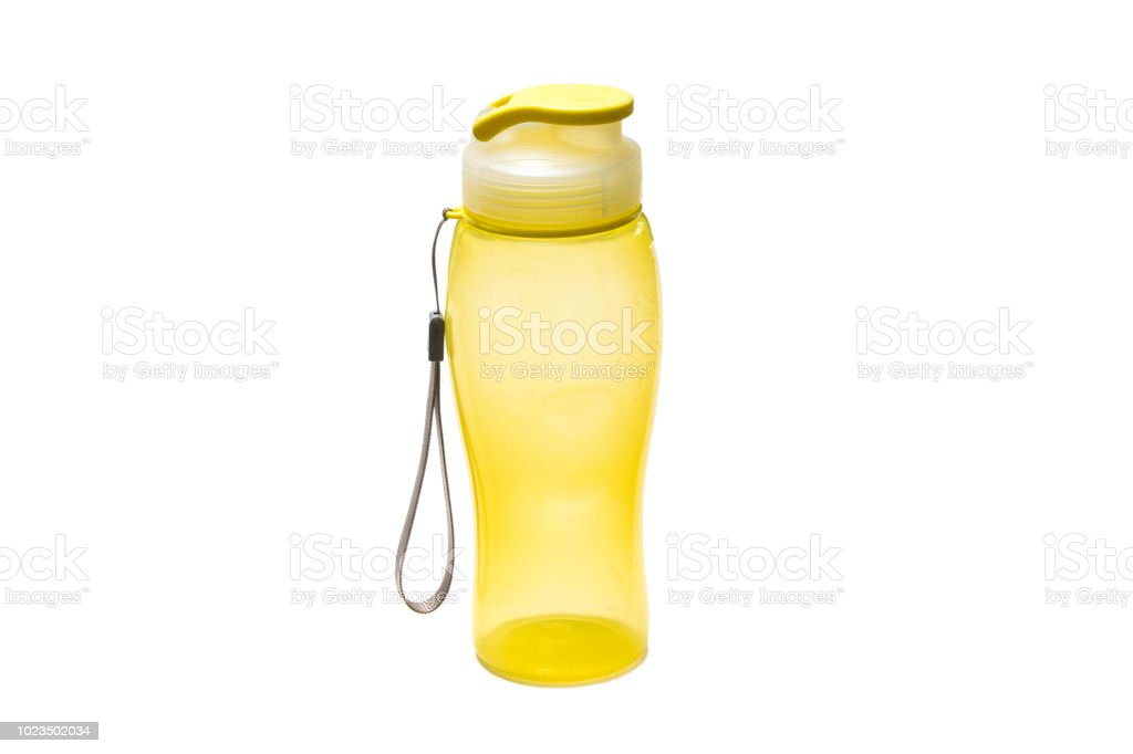 Yellow camping water bottle isolated on white - foto stock