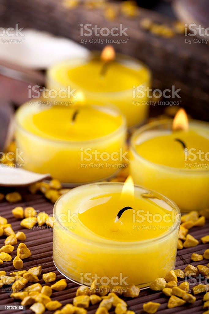 Yellow candles decoration stock photo