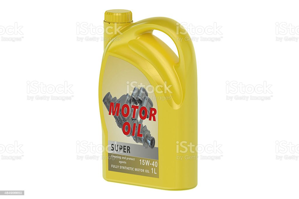 yellow canister motor oil 1L stock photo