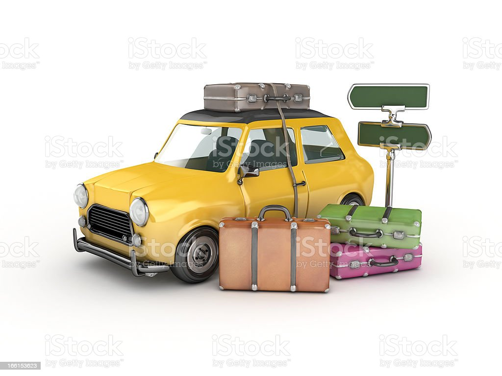 yellow car and suitcases stock photo
