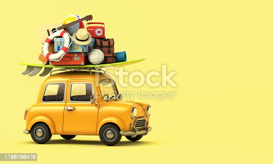 Yellow car with luggage on the roof ready for summer vacation