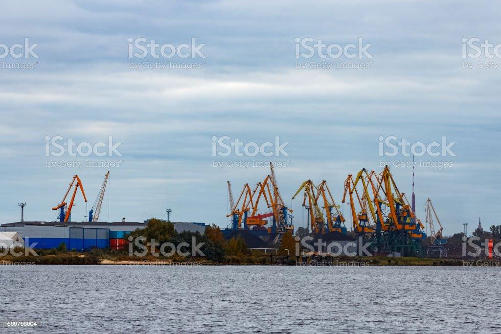 Yellow cargo cranes foto stock royalty-free