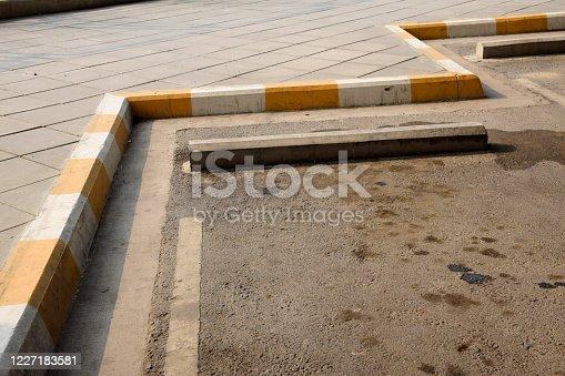 Yellow carpark footpath walkside urban