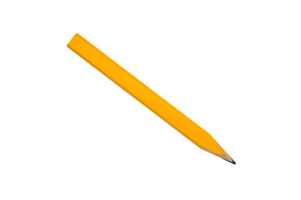 yellow carpenter flat pencil, isolated on white stock photo