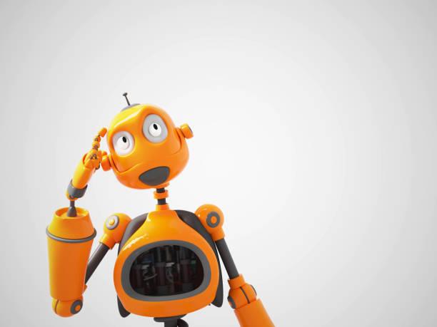 Yellow cartoon robot thinking about something. stock photo