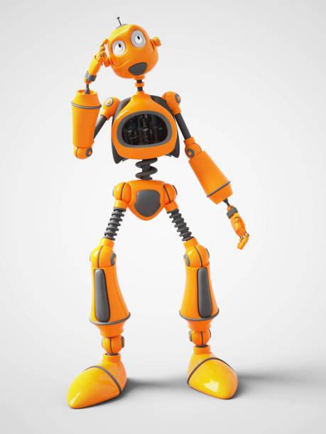 Gelbe Cartoon Roboter über etwas nachzudenken. – Foto