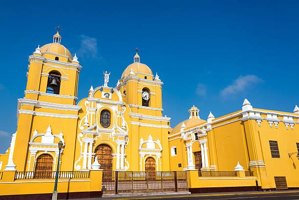 Yellow Cathedral in Trujillo, Peru stock photo