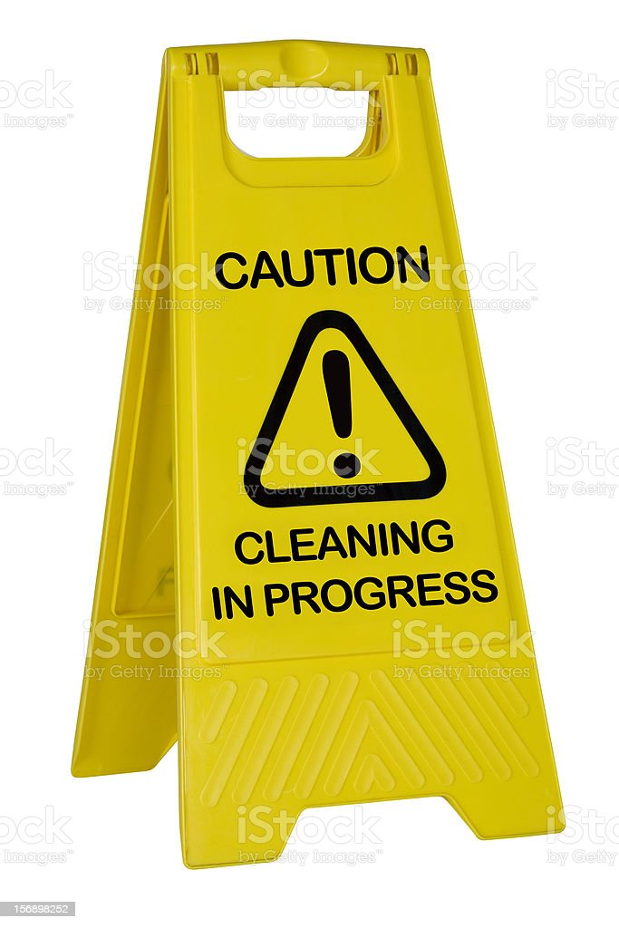 Yellow caution cleaning sign on white with path royalty-free stock photo