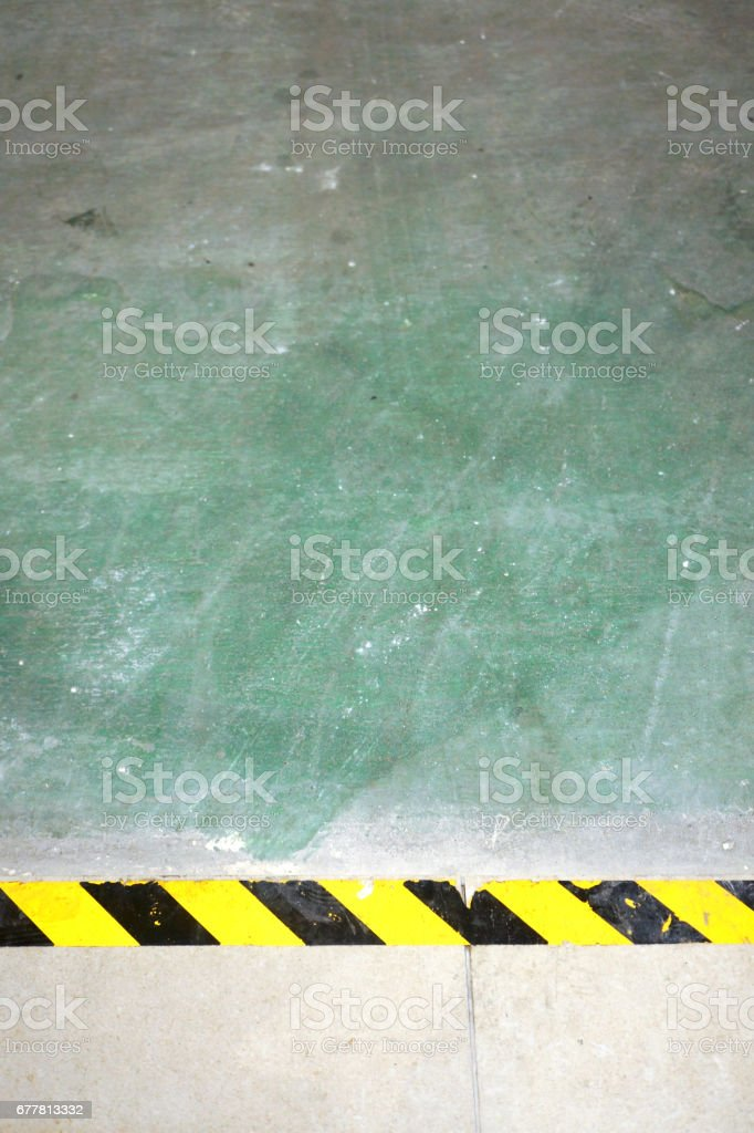 Yellow Caution Line for Tile placed  in Renovation royalty-free stock photo