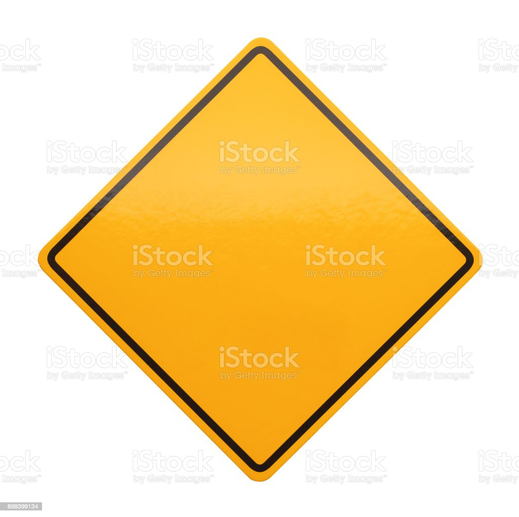 Yellow Caution Sign stock photo