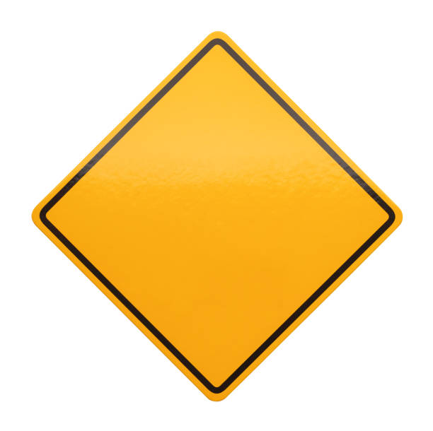 yellow caution sign - road signs stock photos and pictures