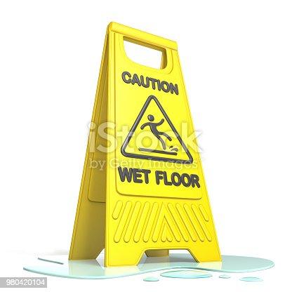 istock Yellow caution slippery wet floor sign 3D 980420104