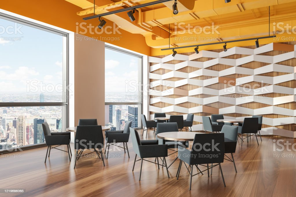 Yellow Ceiling Geometric Pattern Cafe Corner Stock Photo Download Image Now Istock